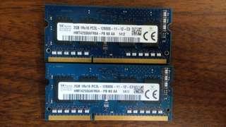 2G DDR3 1600  PC3L-12800S-11-12-C3 SK hynix 海力士 筆記型電腦用記憶體 單面顆粒