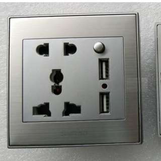 SILVER International Plug 1 Gang 2 USB Wall Socket With Switch and Indicator lights (5V 2.1A)