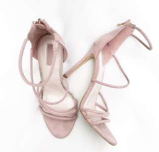 Forever 21 Pink Suede Strappy Heels