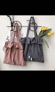 Faux Suede Tote Bag in Grey