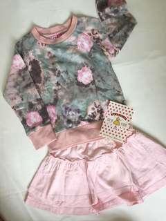 1 Set Pink Sweater & Comfy Cotton Skirt