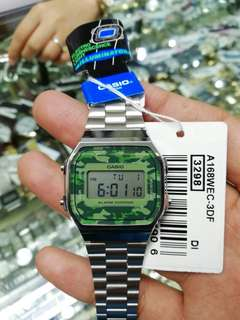Original Casio vintage watch camouflage silver
