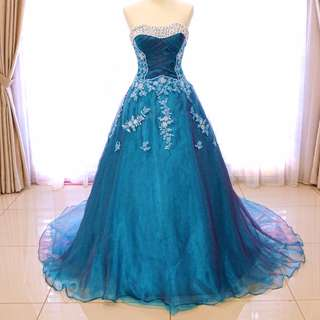 [CLEARANCE] Dinner Gown Aqua Blue Dual Tone