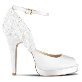 White Wedding Bridal Heels