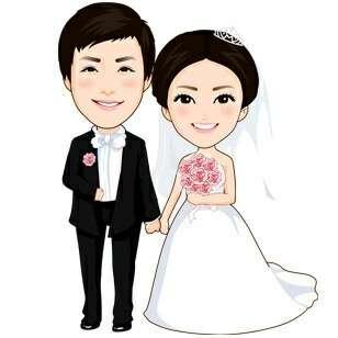 Wedding custom digital draw diy couple cartoon