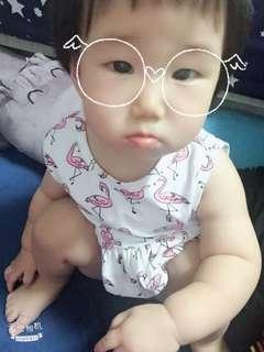 👶火烈鳥/紅鶴 90cm女寶寶套裝