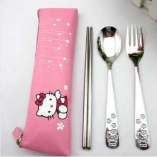 HELLO KITTY STAINLESS SPOON & FORK pouch