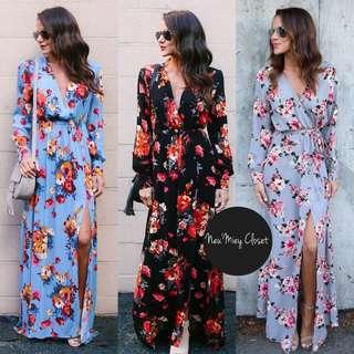 Floral Long Maxi V Neck Dress