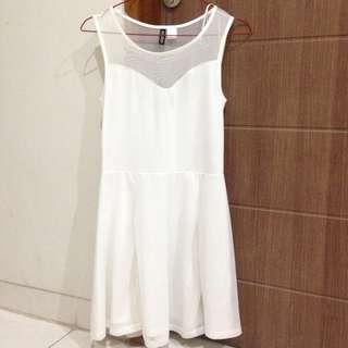 H&M White Mesh Dress