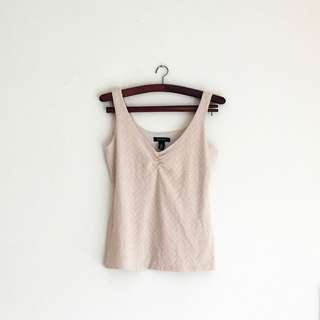 Beige Triangle Pattern Tank Top