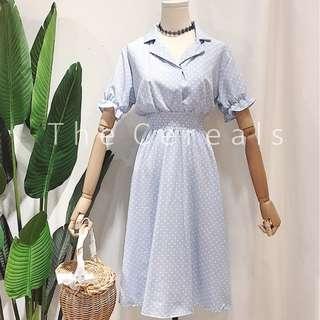 TC2308 Korea Audrey Polka Dot Elegant Dress (Blue,Black)