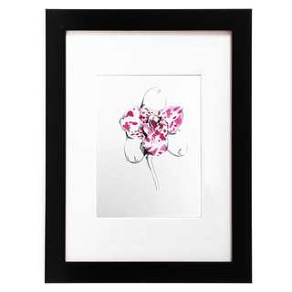 Unique miniature watercolor orchid painting by famous sg artist