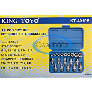"King Toyo 19pcs 1/2"" DR. Torx Bit Socket & E-Torx Socket Set"