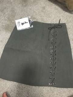 Dark green shoelace suede skirt