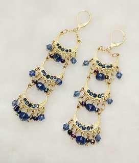 Bohemian Blue Rhinestone Beads Golden Plate Dangling
