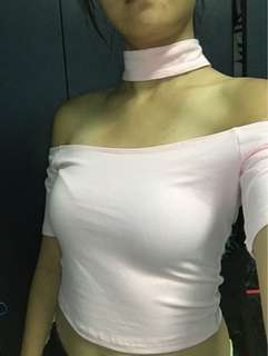 Baby pink choker off shoulder top