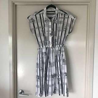 FINAL SALE Vintage B&W Printed Dress