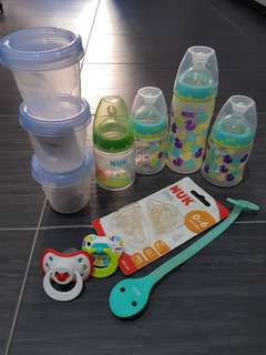 NUK milk bottles, Avent Milk Storage Cups, Teats and Pacifiers.