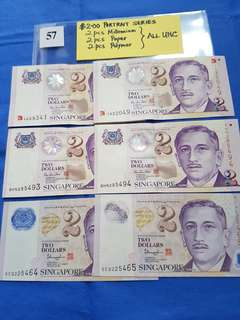 $2.00 PORTRAIT SERIES.   2 pces millennium,  2 pces paper,  2 pces polymer.    ALL UNCIRCULATED.