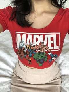 Marvel crop top red
