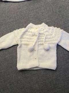 Handmade Baby Cardigan (White)