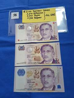 $2.00 PORTRAIT SERIES.   1 pce millennium,  1 pce paper,  1 pce polymer.    ALL UNCIRCULATED.