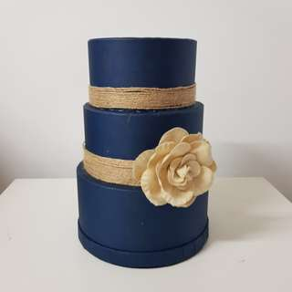 CLEARANCE - Handmade Navy Blue Wedding Angbao Box
