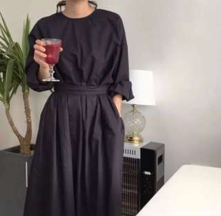 Loose fitting French Vintage Belted Waist Dress