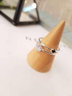 🚚 正韓版雙層晶鑽銀戒