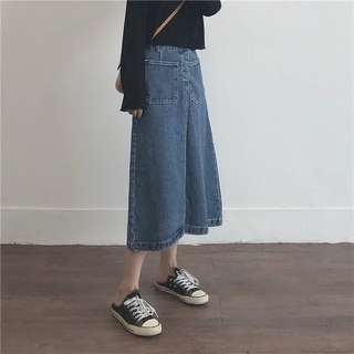 🤠復古味A字牛仔長裙 牛仔裙 兩色 多尺寸顯瘦款 過膝裙 女裝 丹寧 口袋 尺碼 可愛 個性