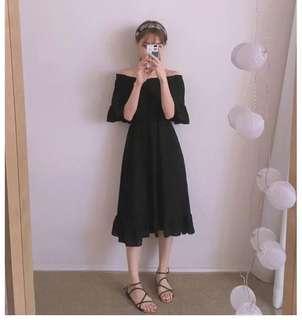 👗新款大尺碼一字露肩連衣裙 顯瘦 多尺寸可選 黑長裙 少女 鬆緊肩 大尺寸 big size