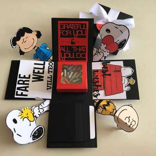 Snoopy explosion box with capsule box , 4 waterfall