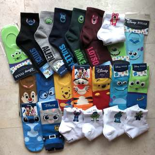 DISNEY PIXAR SOCKS AUTHENTIC GALORE