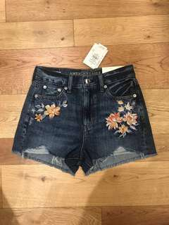 American eagle floral embroidered shorts denim jeans