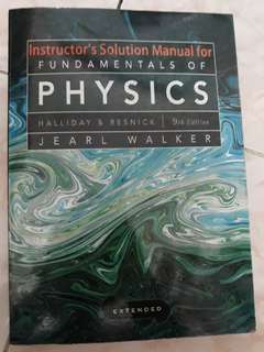 Solution manual for fudamentals of physics karangan Halliday & Resnick 9th edition