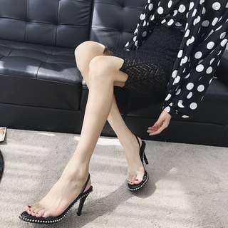 🚚 042721(34~39)鉚釘透明性感細跟高跟涼鞋