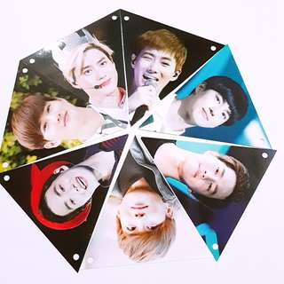 EXO Suho Partynoodle522 fansite triangle flag banner card photo 7pcs