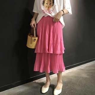 素色百摺雪紡蛋糕裙