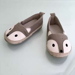 H&M Baby/Toddler Boy/Girl Fabric Slip-on Espadrilles Shoes, with little animal/critter fox head design (for 12-18 months)