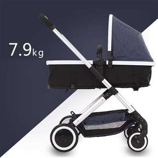 Brand new Elittle light weight stroller/bassinet with raincover and mosquito net