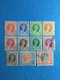 Rhodesia & Nvasaland 1954 QE2 Issue Short Set of 11 Values Used