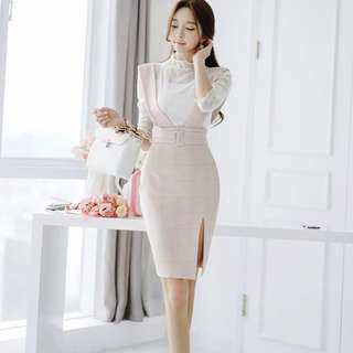 Lace Mock Neck Mid Sleeve Top Checked High Waist Slit Front Suspender Skirt 2 Piece Set
