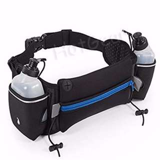 Running Hydration Belt ◇ Sport waist bag fuel belt pouch with 2 BPA Free 10oz Water Bottles for Running Race Cycling Marathon Travelling Hiking Adjustable Pack for Men & Women Runner Fits Most Smartphones iPhone X 8 Samsung Xiaomi Huawei Oppo vivo etc