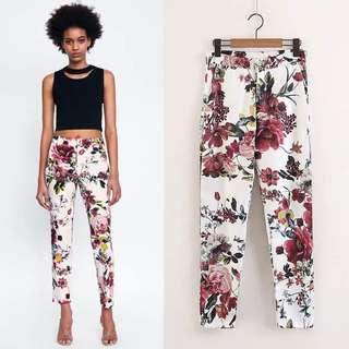 2018 Spring European Station Flower Print Casual Pants Women's Print Trousers