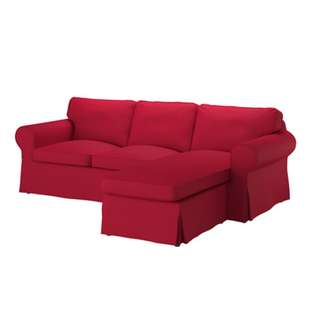 Ektorp red three seater sofa with chaise