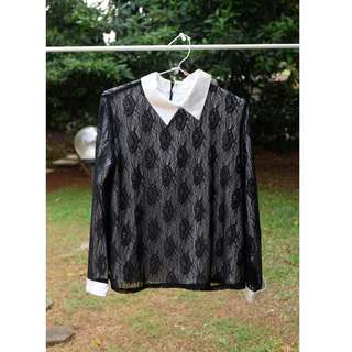 black brokat blouse