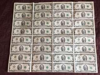 1995 US$2 bills Uncut sheet of 32