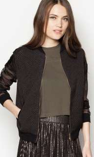 Sheer sleeve black bomber