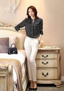 Chiffon black stripe blouse