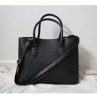 Cross Hatch Tote Bag Black